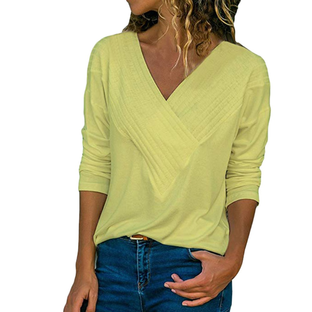 Women/'s Ladies Wrap Front V Neck Long Sleeve Loose Fit Basic Blouse Shirt Tops