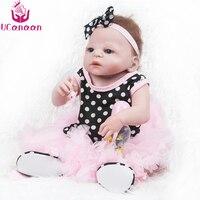 UCanaan/55 см силиконовые куклы Reborn голубые глаза, полные винил кукла Розовое платье сладкие девочки игрушки для детей подарки на день рождения