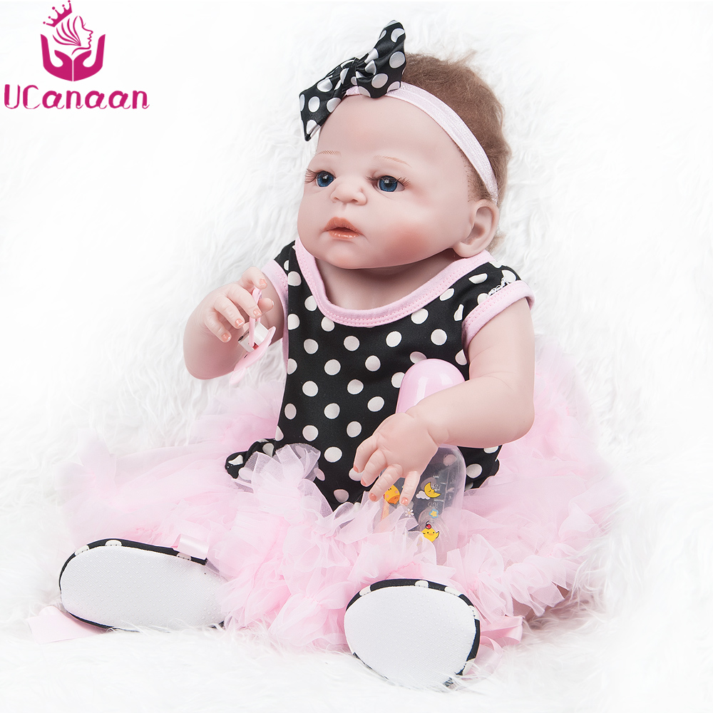 UCanaan 55CM Silicone Dolls Reborn Blue Eyes Full Vinyl Baby Born Doll Pink Dress Sweet Girls Toys For Children Birthday Gifts рубашка insight bayou born diy oldy beaten blue