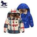 Новый 2015 Мальчиков Зимнее пальто детский Толстый слой Меховой воротник верхняя одежда мальчиков одежда С Капюшоном куртки для мальчиков детей для 3-10y