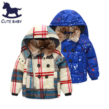 New 2015 Boys Winter coat Children's Thick coat Fur collar outerwear baby boys clothing Hooded jackets for boys kids for 3-10y