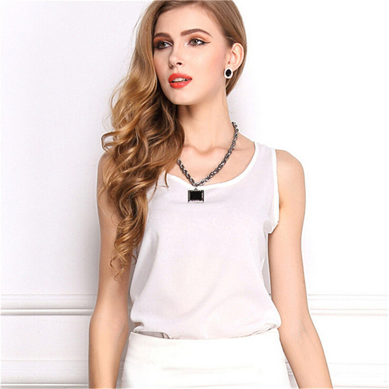 Image 5 - Summer style Multiple Women Tank Tops Brand Good Quality Women Chiffon Sleeveless Tshirt Female Shirt blouse Blusas Femininas-in Tank Tops from Women's Clothing