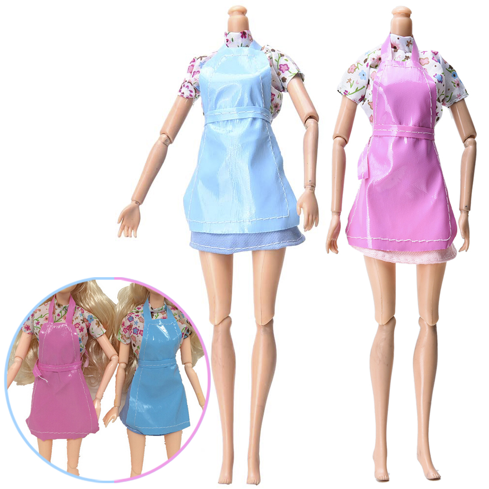 Toyzhijia 3pcs/set Fashion Mini Cute Baby Clothes For Barbies Dolls With Apron Kitchen Suit Dolls Accessories Pink Blue Superior In Quality