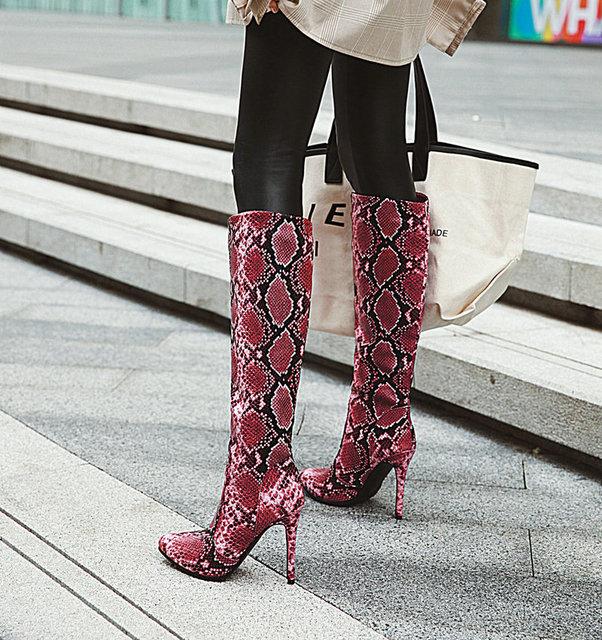 AIWEIYi Fur Warm Winter Shoes Woman Boots Knee High Boots Thigh High Boots Print Sexy High Heels Long Boots Stiletto Heels