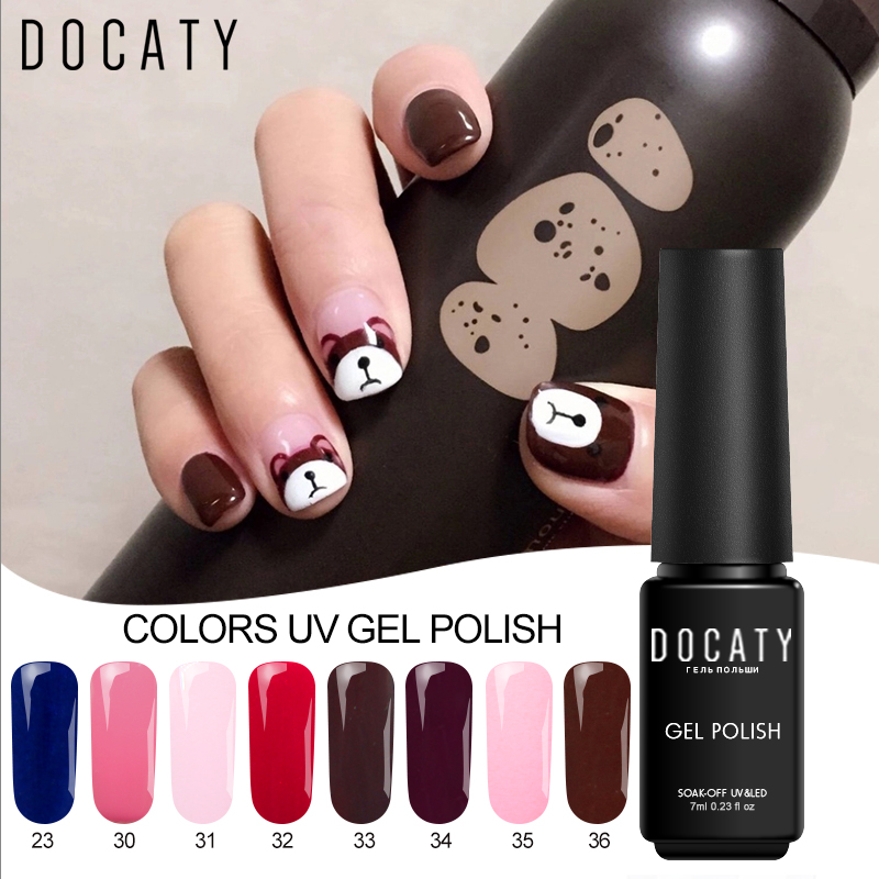 122 Docaty Sliders Para Uñas Esmalte Permanente Diseño De Manicura 24 Colores Puros Base Superior Gel Lacque Decoraciones Para Uñas Gel Híbrido In