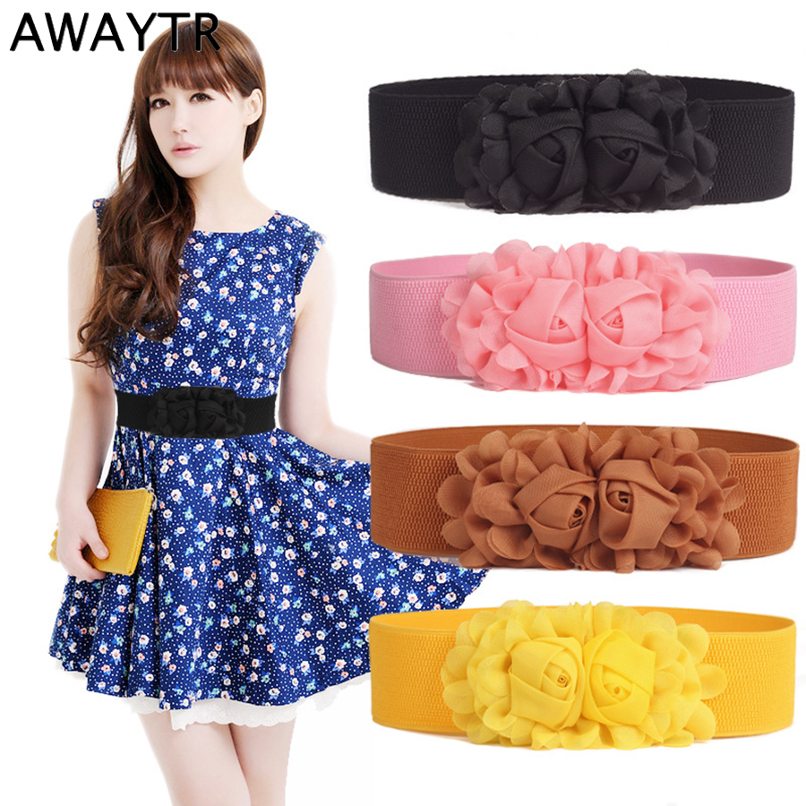 AWAYTR Fashion Chiffon Rose Flower Belt For Women Cummerbund Retro Waist Belt  Waistband Dress Elastic Wide Belt Accessories