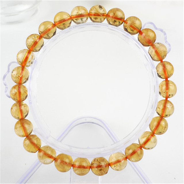 7mm 8mm Natural Yellow Citrine Quartz Healing Crystal Bracelets For Women Clear Round Beads Stretch Charm Bracelets For Women