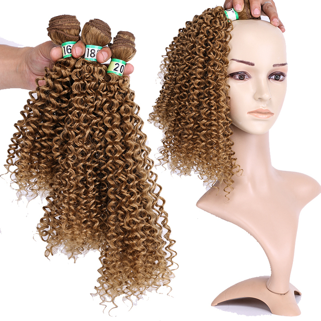 Купить синтетические кудрявые вьющиеся волосы омбре пряди для наращивания картинки