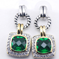 New Simulated Emerald Woman 925 Sterling Silver Crystal Earrings TE357