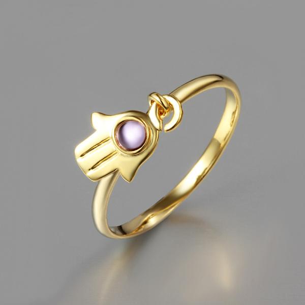 color oro hamsa mano anillo de alianzas de boda pavimentada circn pavimentada regalo anillo de dedo