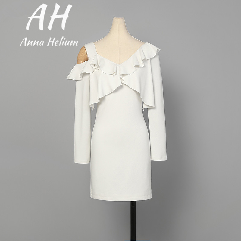 Pre spring Sexy&Club solid white wrist-sleeved Ruffles decoration package-hip mini dress AH031