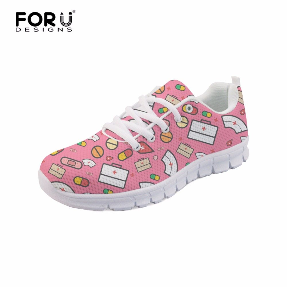 FORUDESIGNS 2018 Spring Nurse Printed Flat Shoes Women Lace-up Shoes - Kasut wanita