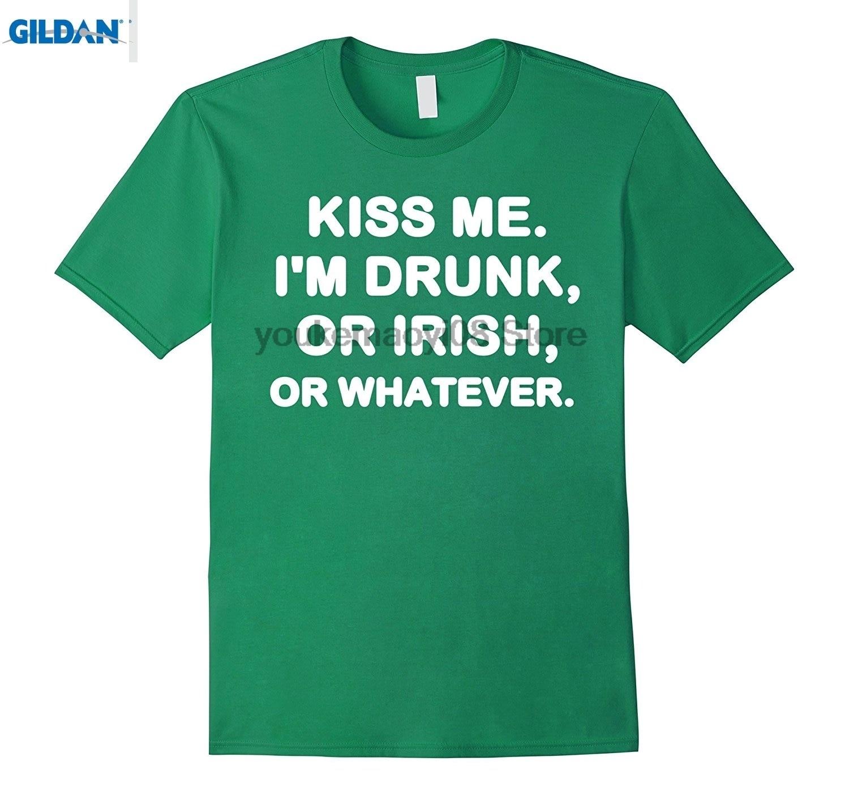 Возьмите 100% хлопок o-образным вырезом Пользовательские печатных футболка Kiss Me IM пьян или ирландский или любой день Святого Патрика ...