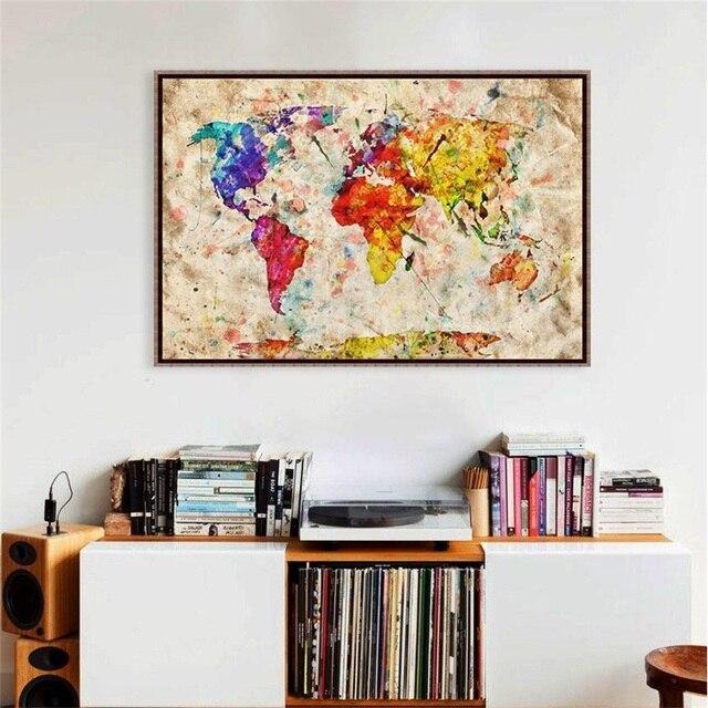 Bunte Retro World Geography Karte Vintage Große Leinwand Kunstdruck ...