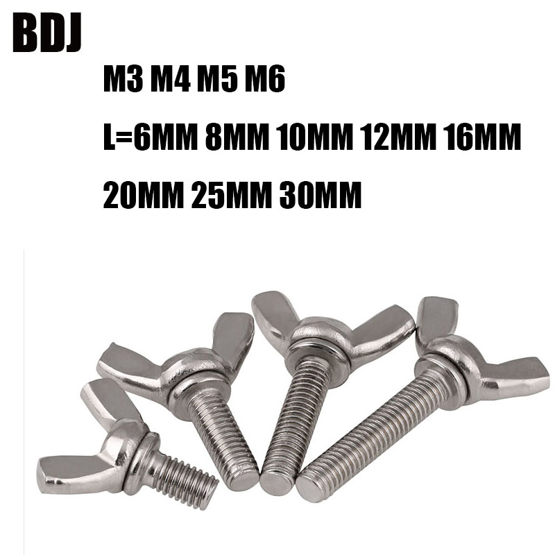 10 Pack M6x12mm Wing Bolt Sets 304 Stainless Steel Machine Screws Fastener Thumb Butterfly Screw with Hex Nut