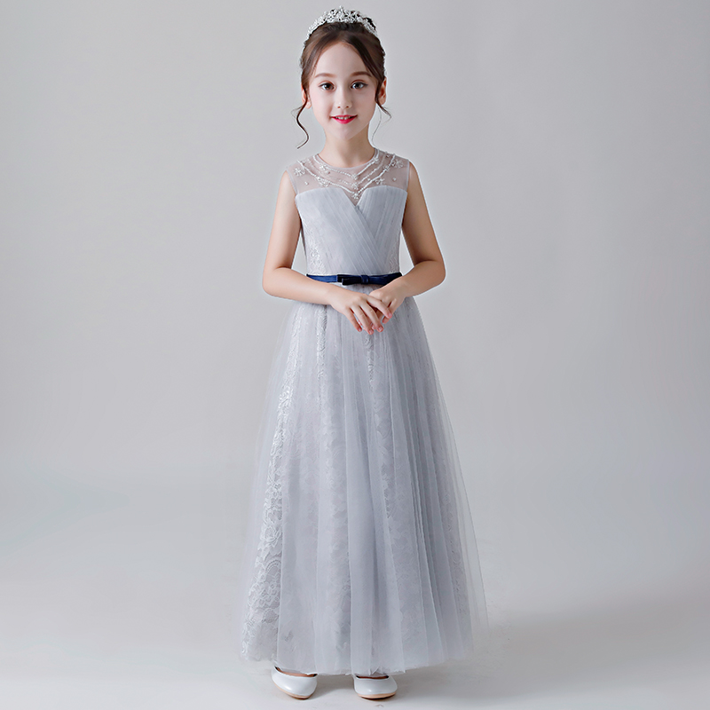 2018 Summer New Children Girls Fashion Elegant Birthday Wedding Party Princess Lace Long Dress Kids Teens Pageant Dress For 5~15