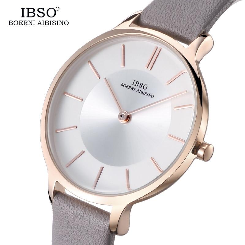 IBSO Brand 8 MM Ultra-Thin Women Watches Fashion Leather Qua
