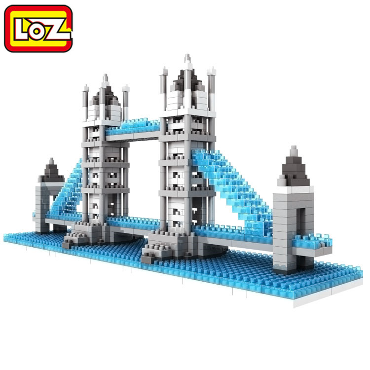 LOZ Nano World Architecture Britain UK LONDON Tower Bridge DIY 3D Model Mini Diamond Brick Building Blocks Toys loz mini diamond building block world famous architecture nanoblock easter island moai portrait stone model educational toys