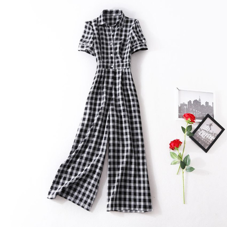Women girls plaid jumpsuit turn down collar vintage single breasted black jumpsuits short sleeve new 2018 summer girls sexy