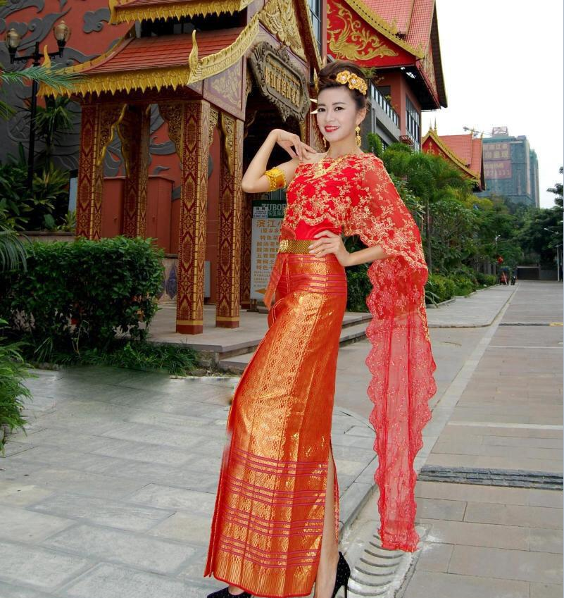 Asia Thais Laos Vietnam Dai Nation Folk Dance Dai Costume Red Scarf Single Shoulder Traditional Sleeveless Wedding Bride Outfit