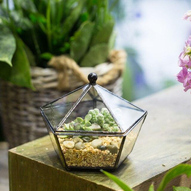 Gardening Indoor Flowerpot Modern Plant Pot Handmade Geometric Glass  Terrarium Tabletop Planter For Succulents Flower Pot