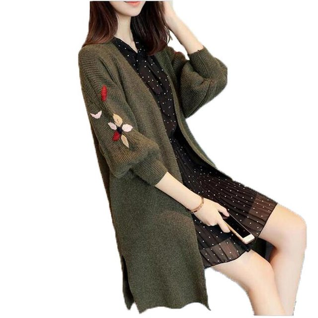 Women Cardigans Casual Warm Long Design Female embroidery Knitted Sweater  Coat Cardigan Loose Plus Size Sweater Lady AC107 4437e734f