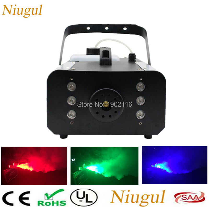 1500W Smoke Machine with 6PCS RGB LED lights/Stage LED fog machine for Remote and Wire Control Control DJ Stage Fogger Lighting