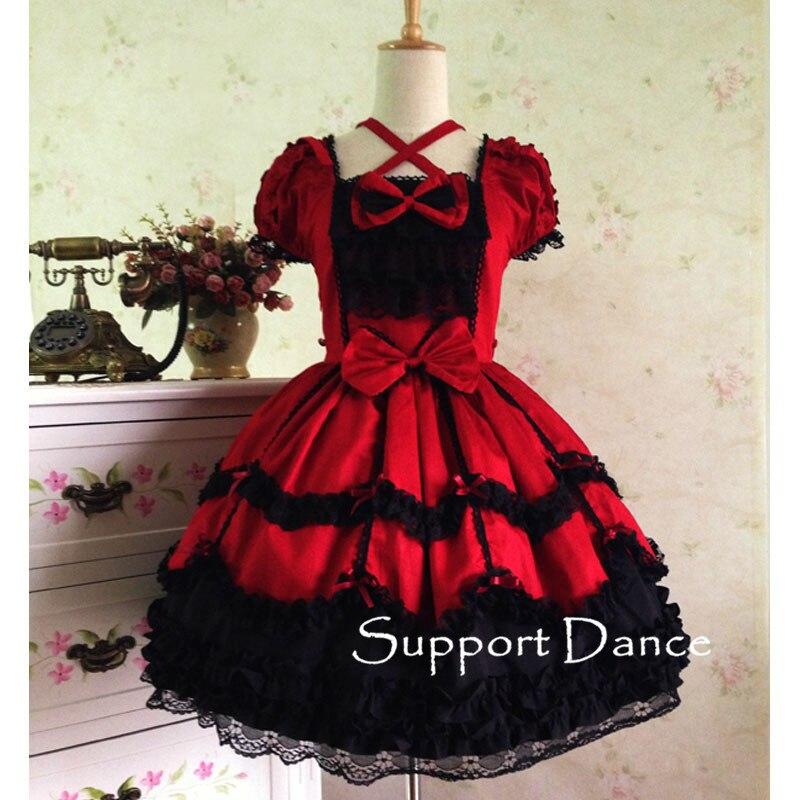 Short Sleeve Lace Gothic Lolita Dress Custom Made Plus Size L42 A150