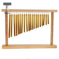 Tooyful 20 Tones Copper Pipe Chime Bar Bells With Wood Stand Percussion Instrument For Kids Music