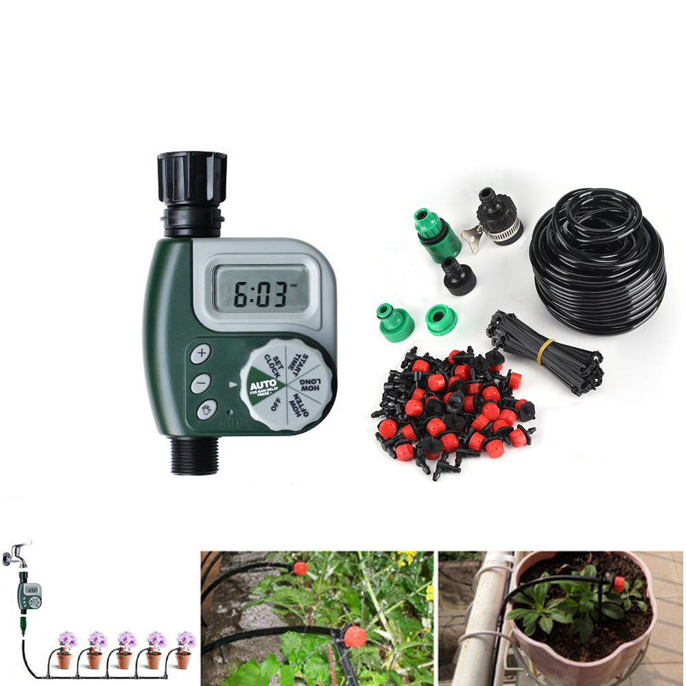 DIY система за капково напояване, инсталация за автоматично поливане Таймер за градински маркуч с регулируема капка