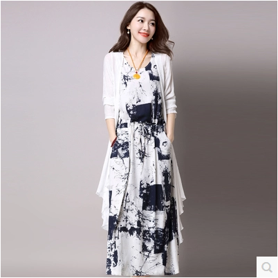 Vintage Dresses Summer 2017 Chinese Ink And Wash Painting Printed Long Cotton Linen Set 2 Pieces Women Casual Dress Plus Size In From S