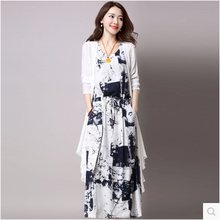 Vintage Dresses Summer 2017 Chinese Ink and wash painting Printed Long Cotton linen Set 2 Pieces Women Casual Dress Plus Size