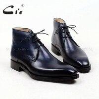 Cie квадратный плотная toe100 % натуральной телячьей кожаные ботинки патина темно ручной работы подошва кожаная мужская бизнес мужские Ботильо