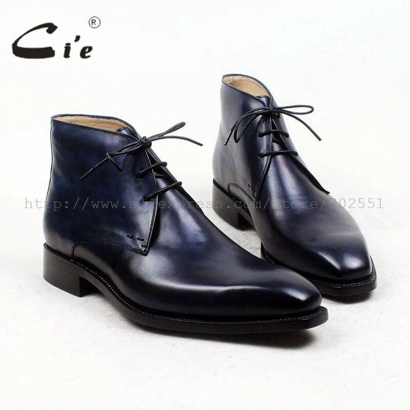 Cie carré plaine toe100 % véritable botte en cuir de veau patine marine à la main semelle en cuir hommes boot cheville de hommes d'affaires boot A96