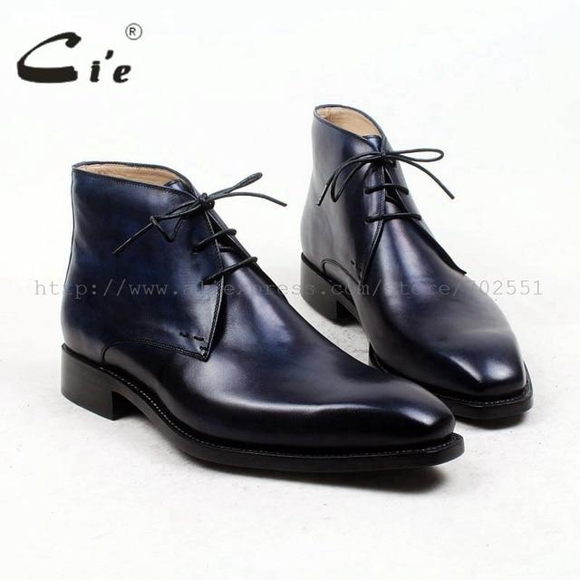Cie plain toe100 % echtes kalbsleder boot patina navy handmade laufsohle leder männer boot business herren stiefeletten boot A96
