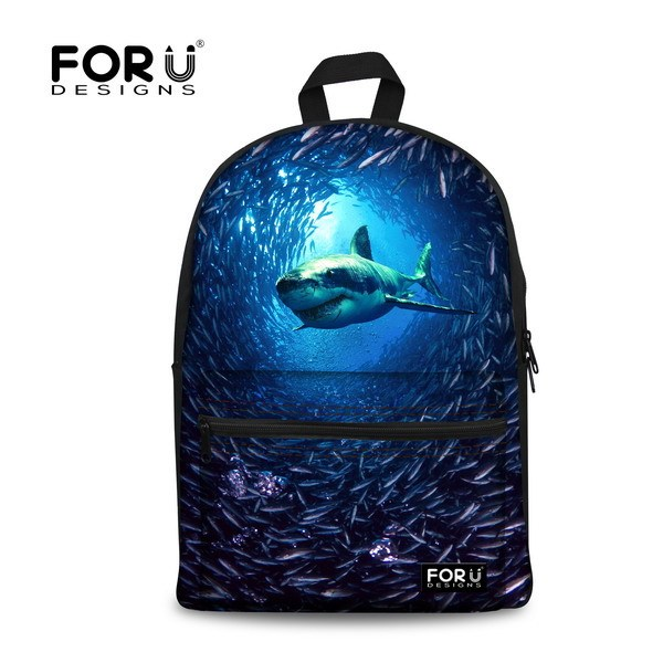 FORUDESIGNS Cool Preppy Children Schoolbags Teenage Boys School Bag Shark Dolphin Print Primary Student Kids Book Bag Mochila