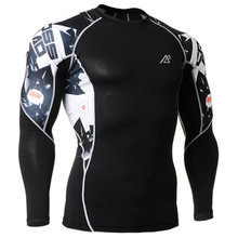 Brand training t shirt men 3d printing long sleeve clothing compressive flexible exrecise gym fitness shirts