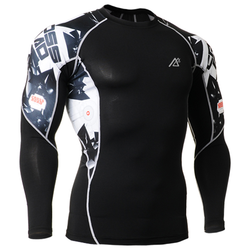 Brand training t shirt men 3d printing long sleeve clothing compressive flexible exrecise gym font b