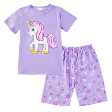 Summer New Childrens Pajamas Unicorn Print Girls Short-sleeved Clothes Cute Girl Clothing Set