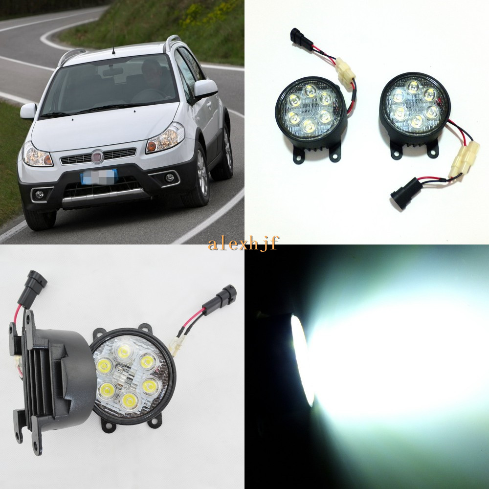 July King 18W 6LEDs H11 LED Fog Lamp Assembly Case for Fiat Sedici 2009+, 6500K 1260LM LED Daytime Running Lights