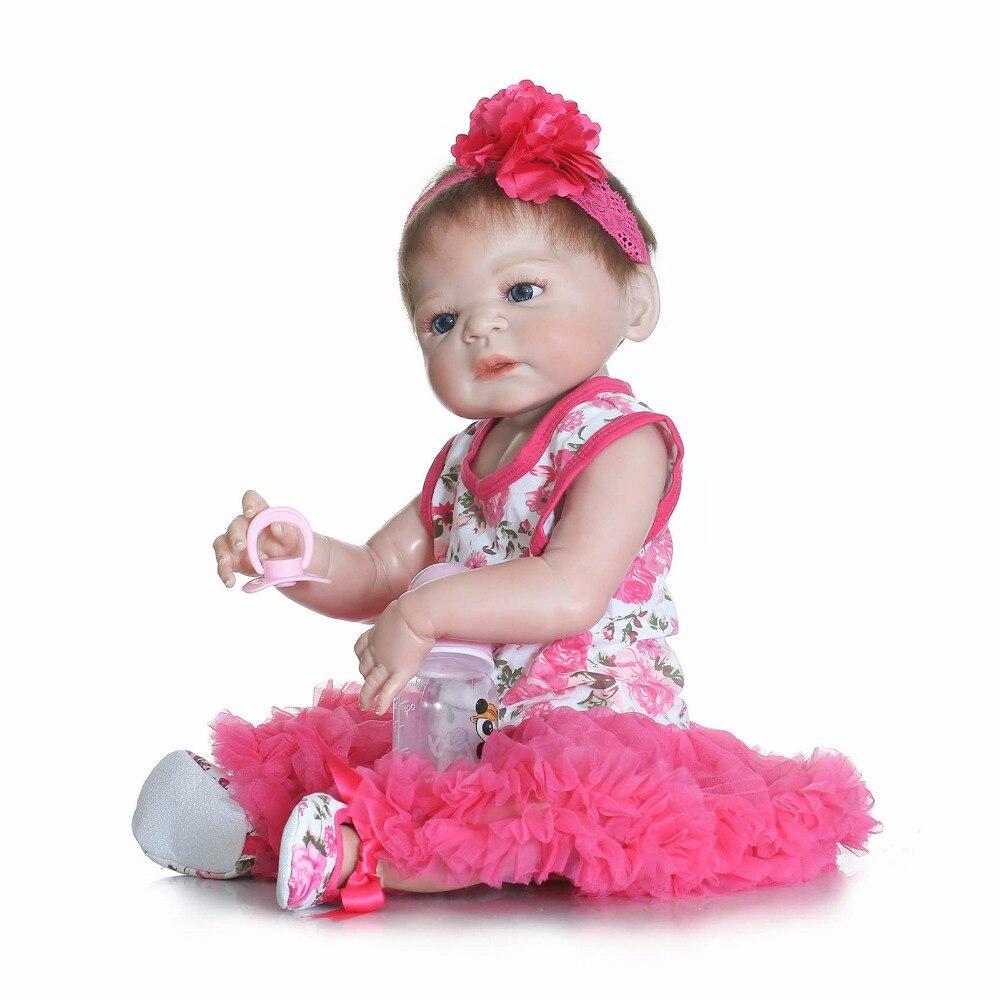 NPK COLLECTION 57CM  Full Body Silicone Reborn Baby Doll Toys Lifelike real Newborn Girl Babies Brithday Gift Bathe Toy bonecas