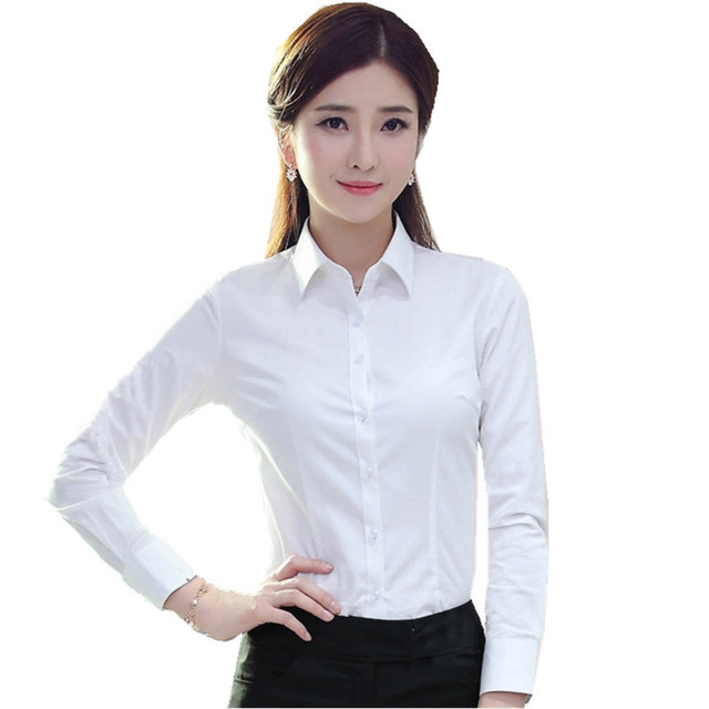 ae06ee6118b Fmasuth 4XL Plus Size Spring Women s Formal White Shirt OL Office Long  Sleeve Business Lady Work Blouses Top GM-1520