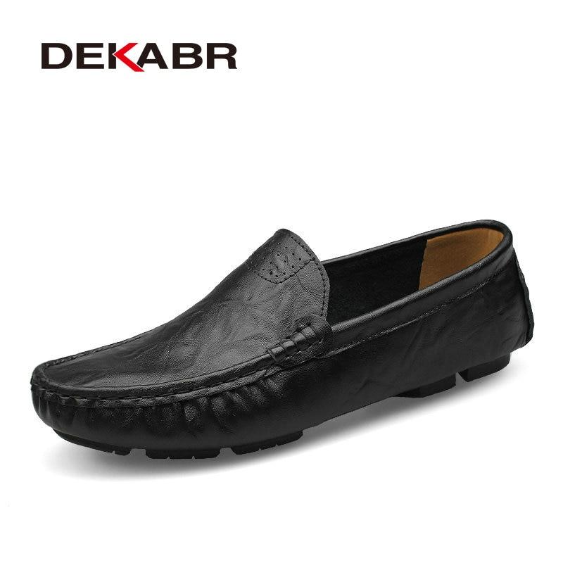 Image 5 - Мужские туфли из натуральной кожи DEKABR, желто коричневые мягкие мокасины, модная брендовая удобная обувь на плоской подошве для вождения, весна осень 2019shoes brandshoes fashionshoes quality -