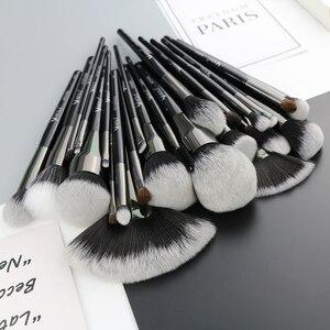 Image 3 - Набор профессиональных натуральных кистей для макияжа BEILI Black, 25 шт., тени для век, подводка для бровей, консилер, кисти для макияжа
