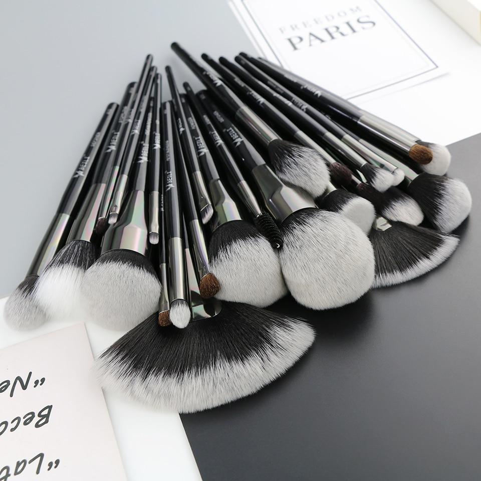 BEILI Schwarz 25 PCS Gesicht Make Up Pinsel Set Natürliche borsten Synthetische Haar Blending Augenbrauen Concealer Foundation-in Lidschatten-Applikator aus Haar & Kosmetik bei  Gruppe 3