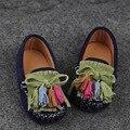 Niño Mocasines de cuero genuino de los muchachos zapatos de cuero femeninos zapatos de un solo niño niños ocasional zapatos de bebé 1-3 años de edad