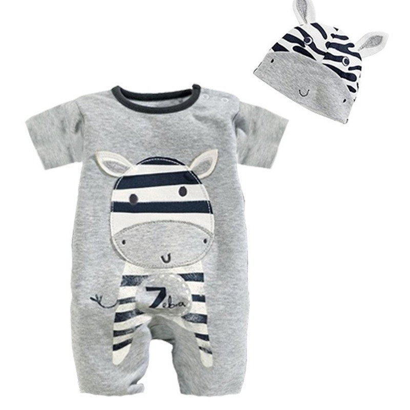 Roupa De Bebe Cartoon Animal Short Sleeve Romper Hat 2PCS Set Summer Baby Boy Clothes Baby Girl Clothing Cow Panda Zebra Lion