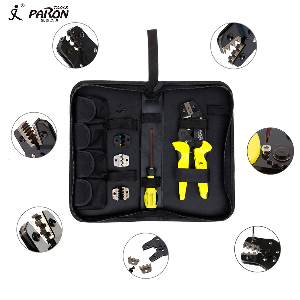 4 In 1 Wire Crimper Kit Multitool Engineering Ratchet Terminal Crimping Plier with Screwdriver/End Terminals multifunction ratchet s wire crimpers terminal module crimping plier press plier press pinchers crimping too l made in taiwan