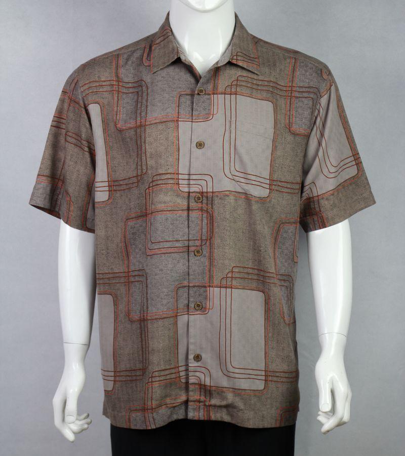 Multicolor us size maze pattern 100 silk mens short for Mens short sleeve patterned shirts