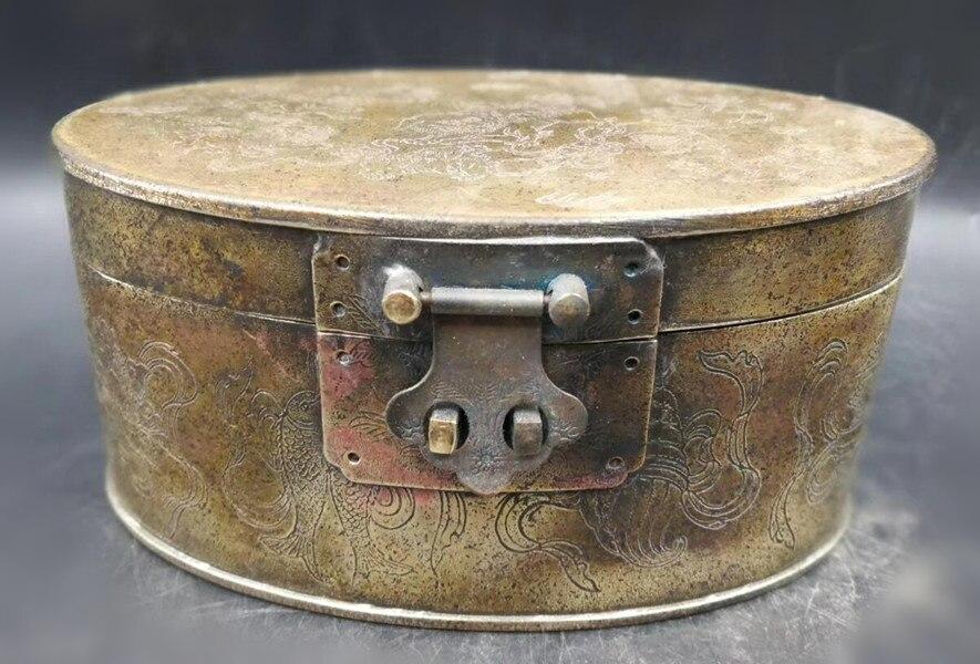Boîte à bijoux elliptique en laiton rétro chinois fournitures d'ameublement